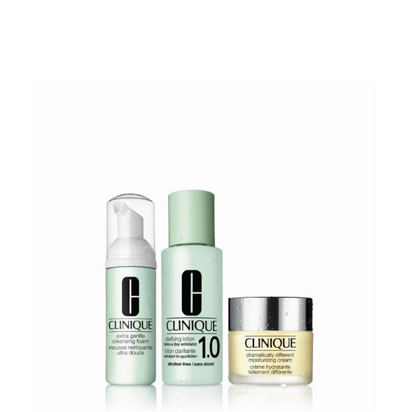 Image of Clinique Cofanetto Sistema 3 Fasi Extra Gentle - Cleansing Foam 45 ml + Clarifying Lotion 1.0 100 ml + Dramatically Different Moisturizing Cream 30 ml 0020714820176