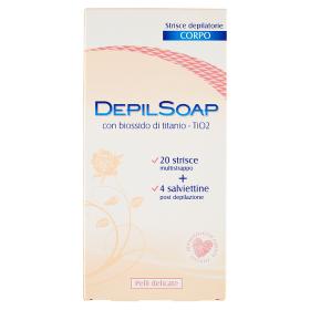 Image of Depilsoap Strisce Depilatorie Corpo Pelli Delicate 20 Strisce + 4 Salviettine 8005283014074