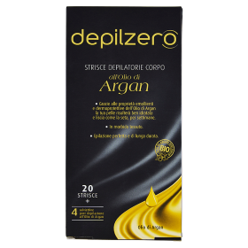 Image of Depilzero Strisce Depilatorie Corpo all'olio di Argan 20 Strisce + 4 Salviettine 8008970037028