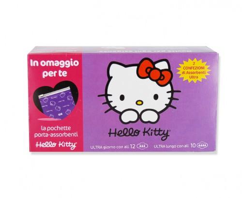 Image of Hello Kitty Assorbenti Ultra Giorno Con Ali + Ultra Lungo Con Ali+ Omaggio Pochette 12+10 Assorbenti 8000249124095