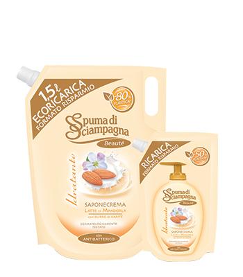 Image of Spuma di Sciampagna Ecoricarica Sapone Crema Mandorla 400 ml