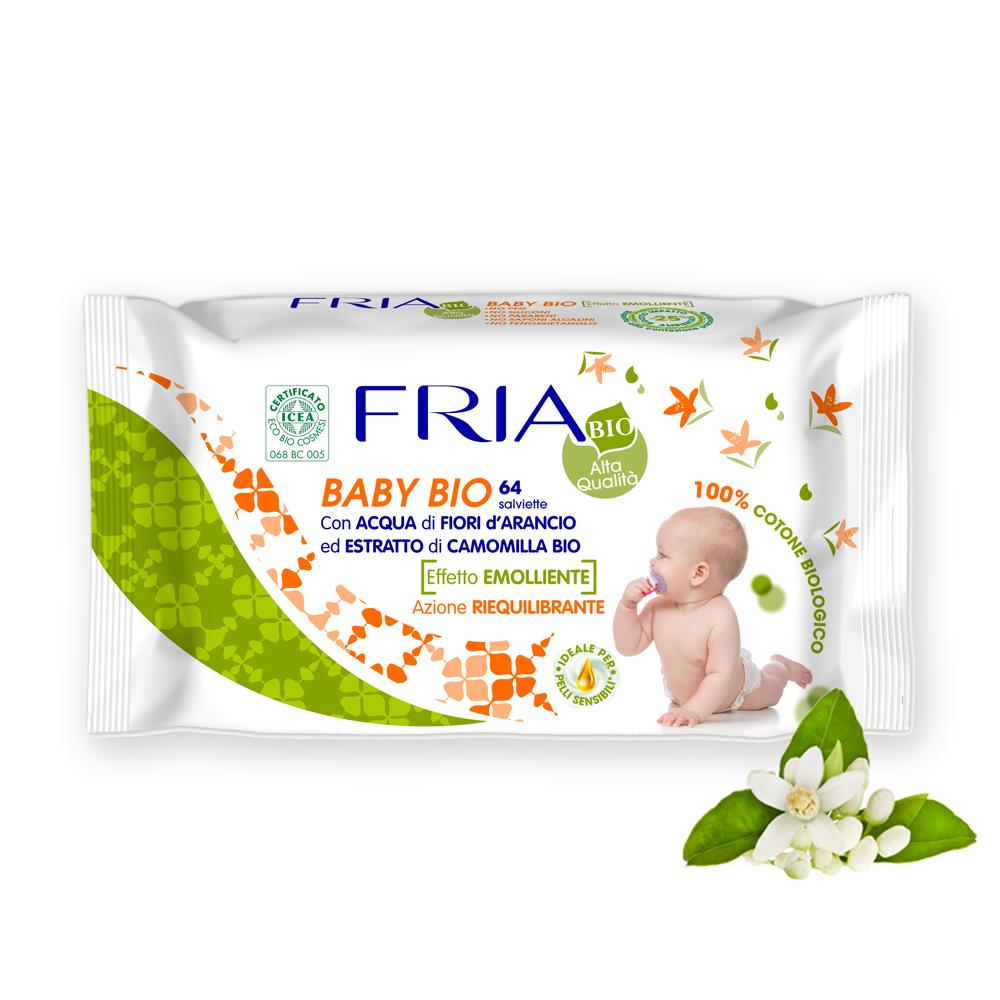 Image of Fria Salviette bambini cotone biologico 64 pz. 8009432018012