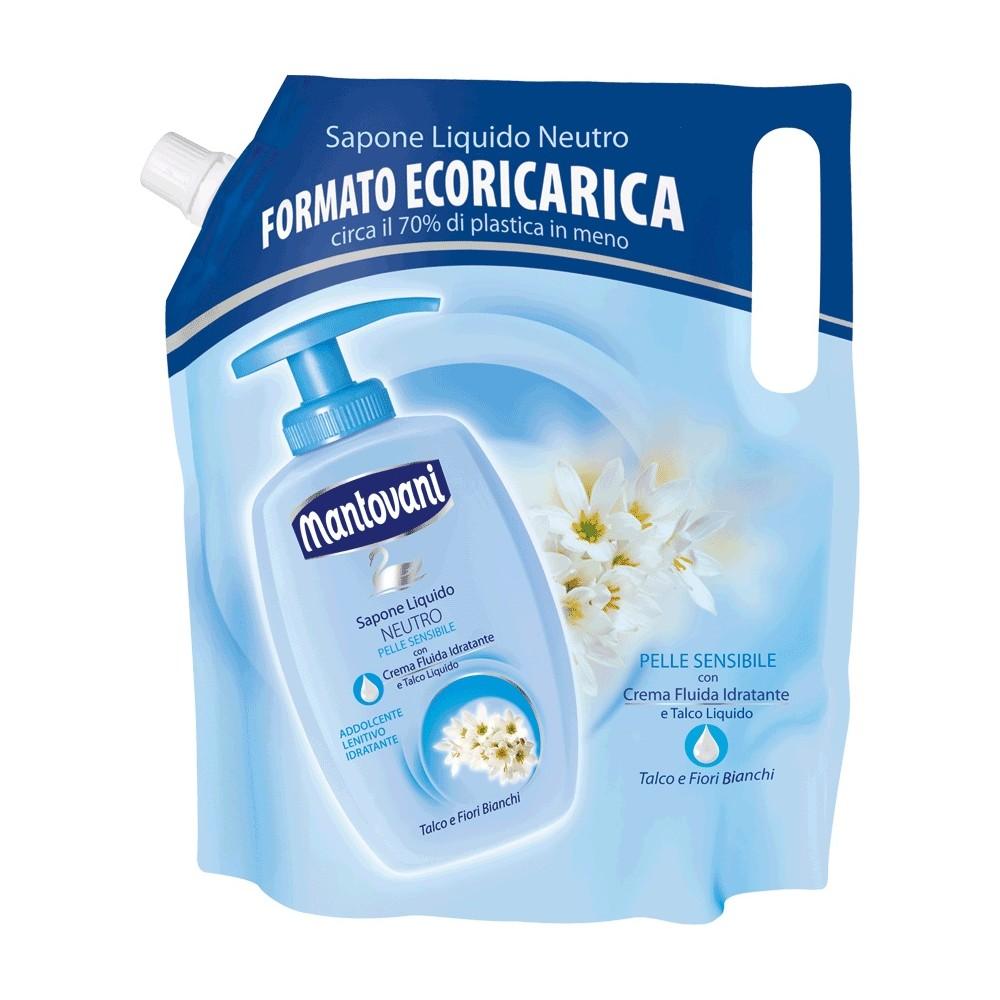 Mantovani sapone liquido neutro per pelle sensibile talco e fiori bianchi - Sapone neutro per pulizie casa ...