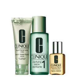 Image of Clinique Sistema in 3 Fasi Intro Kit 1 - Liquid Facial Soap 50ml + Clarifying Lotion 100 ml + Dramatically Different Moisturizing Gel 30 ml 0020714598976