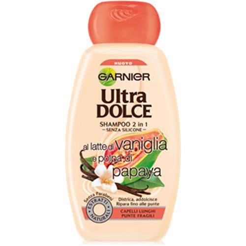 Image of Garnier Ultra Dolce shampoo 2 in 1 latte di vaniglia e polpa di papaya 300ml 3600542154642