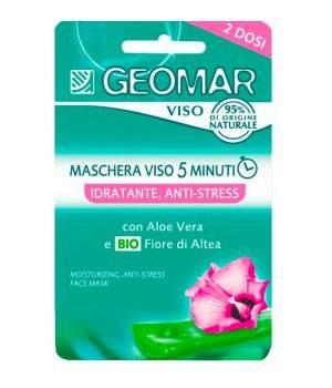 Maschera Viso 5 Minuti Idratante Antistress Con Fiore Di Altea Biologico E Aloe Vera 2 Dosi Da 15 Ml