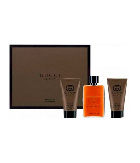 Cofanetto Gucci  Guilty Absolute Uomo - Eau de Parfum 50 ml + Balsamo Dopobarba 50 ml + Gel Doccia 50 ml