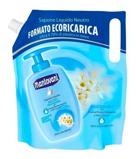 Sapone Liquido Neutro per Pelle Sensibile Talco e Fiori Bianchi Formato Ecoricarica 750 ml