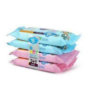 Baby Cuddles Salviette Imbevute 4 Confezioni da 15 salviettine