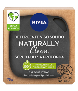 NIVEA VISO DETERGENTE SOLIDO NATURALLY CLEAN SCRUB PULIZIA PROFONDA CARBONE ATTIVO 75 GRAMMI