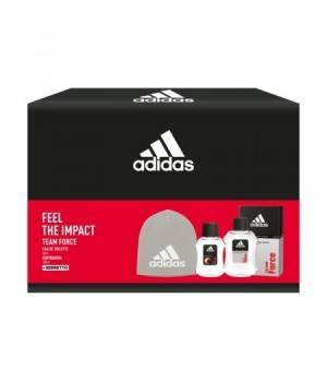 Adidas Feel The Impact Team Force - Edt 50 Ml + Dopobarba 100 Ml + Berretto