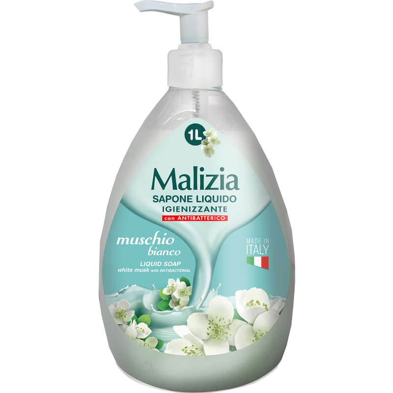 Sapone Liquido Igienizzante Con Antibatterico Muschio Bianco Dispenser 1 Lt